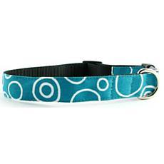 Isabella Cane Dog Collar - Turquoise Circles S