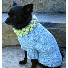 Isabella Cane Knit Dog Sweater - Blue with Green L