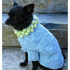 Isabella Cane Knit Dog Sweater - Blue with Green XS