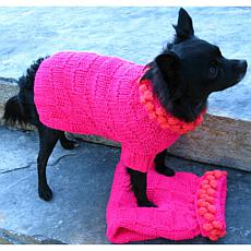 Isabella Cane Knit Dog Sweater - Fuscia Poms XS