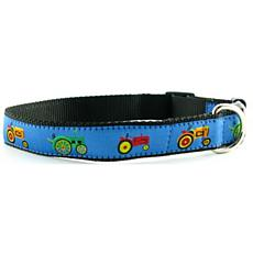 Isabella Cane Ribbon Dog Collar - Blue Tractors M