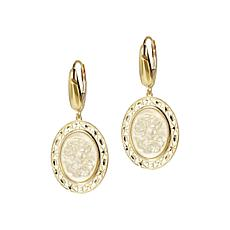 Italian Gold 14K Yellow Gold Oval Cameo Dangle Earrings