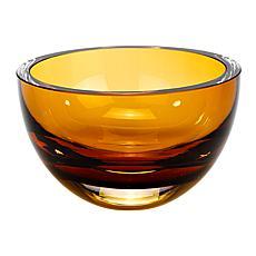 """Jack Badash Penelope Amber Mouth-Blown European 6"""" Crystal Bowl"""