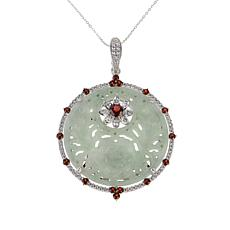 Jade of Yesteryear Carved Jade and Garnet Pendant with Chain