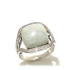 Jade of Yesteryear Cushion Cut Green Jade and CZ Ring