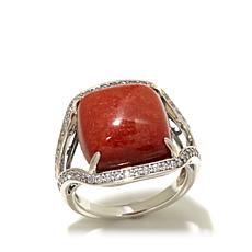 Jade of Yesteryear Cushion Cut Red Jade and CZ Ring