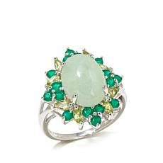 Jade of Yesteryear Green Jade and Multigem Ring