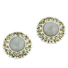 Jade of Yesteryear Green Jade and Peridot Stud Earrings