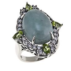Jade of Yesteryear Green Jade, CZ and Peridot Sterling Silver Ring
