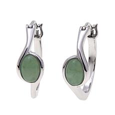 Jade of Yesteryear Green Jade Hoop Earrings
