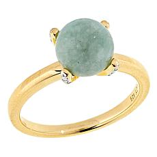 Jade of Yesteryear Jade Solitaire Ring with Diamond-Accented Prong