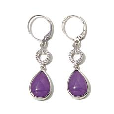 Jade of Yesteryear Lavender Jade & CZ Teardrop Earrings