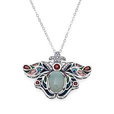 Jade of Yesteryear Multicolor Butterfly Pendant w/Chain