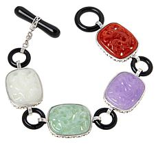 Jade of Yesteryear Multicolor Jade and Onyx Carved Dragon Bracelet