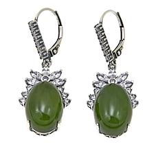 Jade of Yesteryear Oval Dark Green Jade and CZ Drop Earrings