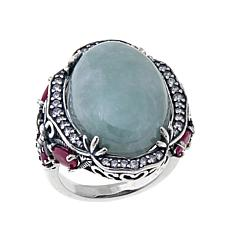 Jade of Yesteryear Oval Green Jade and Gem Ring