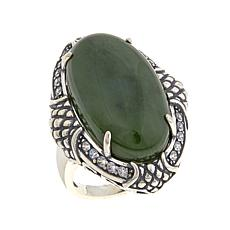Jade of Yesteryear Oval Nephrite Jade and CZ Ring