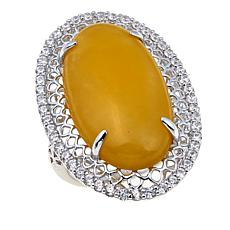 Jade of Yesteryear Oval Yellow Jade Solitaire Sterling Silver Ring