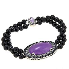 Jade of Yesteryear Purple Jade and Agate Bead Bracelet