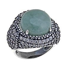 Jade of Yesteryear Round Green Jade and CZ Ring