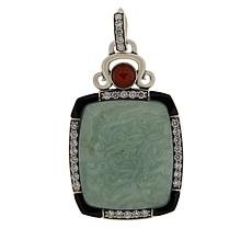 Jade of Yesteryear Sterling Silver Carved Jade and Gemstone Pendant