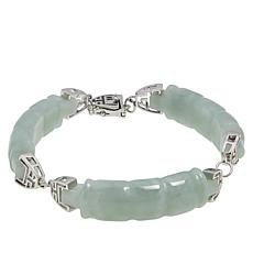 Jade of Yesteryear Sterling Silver Carved Jade Line Bracelet