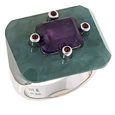 Jade of Yesteryear Sterling Silver Jade and Amethyst East-West Ring