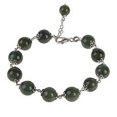 Jade of Yesteryear Sterling Silver Jadeite Jade Bead Bracelet
