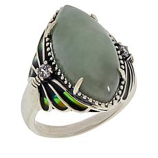 Jade of Yesteryear Sterling Silver Marquise Butterfly Ring