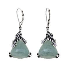 Jade of Yesteryear Triangular Jade and CZ Drop Earrings