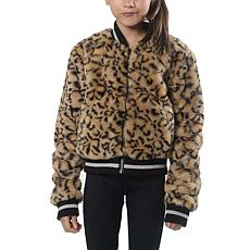 Jake and Anna Girls Faux Fur Cheetah Bomber
