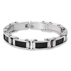 James Michael Men's Stainless Steel Black Carbon Fiber Bracelet