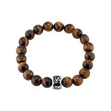 James Michael  Tiger's Eye Bead Tribal Tattoo Station Stretch Bracelet