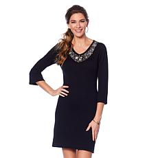 Jamie Gries Embellished V-Neck Sweater Dress
