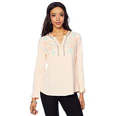 Jamie Gries Embroidered Notch Neck Top