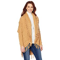 Jamie Gries Fringe Cable-Knit Cocoon Cardigan