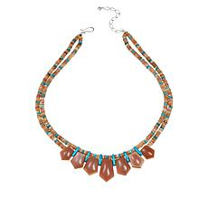 "Jay King 18-1/2"" Sunstone and Turquoise Sterling Silver Necklace"