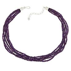 "Jay King 18"" Sterling Silver Amethyst Bead 6-Strand Necklace"