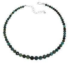 "Jay King 18"" Sterling Silver Emerald Graduated Bead Necklace"
