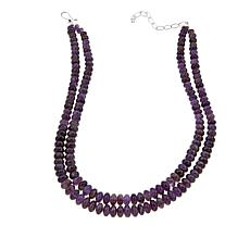 "Jay King 2-Strand Amethyst Bead 18"" Sterling Silver Necklace"