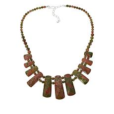 """Jay King 20"""" Sterling Silver Multi-Color Unakite Necklace"""