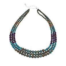 "Jay King 3-Row Multicolor Turquoise Bead 18"" Necklace"