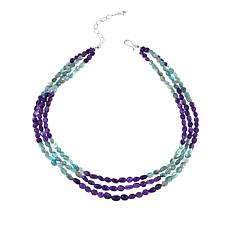 "Jay King 3-Strand Apatite and Amethyst Bead 18"" Necklace"
