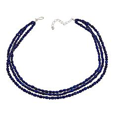 "Jay King 3-Strand Lapis Bead 18"" Sterling Silver Necklace"