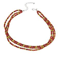"Jay King 3-Strand Peridot and Carnelian 18"" Necklace"