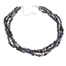 "Jay King 3-Strand Purple Iolite Bead 18"" Sterling Silver Necklace"
