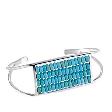 Jay King 4-Row Angel PeakTurquoise Bead Cuff Bracelet