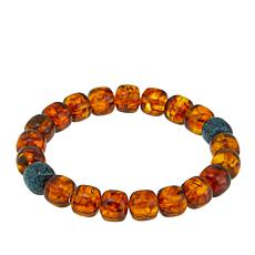 Jay King Amber and Turquoise Bead Stretch Bracelet
