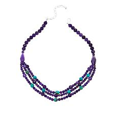 "Jay King Amethyst & Turquoise Multi-Strand Bib-Design 18-1/4"" Necklace"