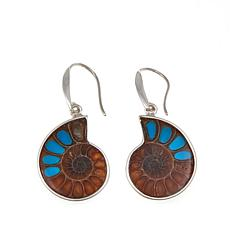 Jay King Ammonite and Turquoise Inlay Earrings